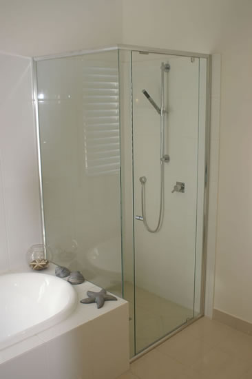 Interior bathroom doors with glass - Semi Frameless Shower Screens Precision Shower Screens